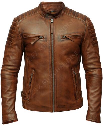 Diamond Classic Distressed New Leather Biker Brown Mens Jacket Vintage Club 6ZYIwq