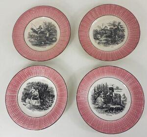 4 Piatti da Dessert IN Ceramica Di Digoin Sarreguemines