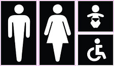 Bathroom Restroom Sign Vinyl Sticker Decal - Men Women Baby Handicap Accessible