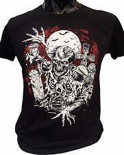 Zombie Rising T-Shirt Large para hombre cementerio murciélagos Zombies Luna Goth Rock Horror
