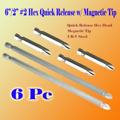 "6x 6/""//2/"" Phillips #2 ScrewDriver Bit Rapid Release Hex Shank Magnetic Tip PH2"