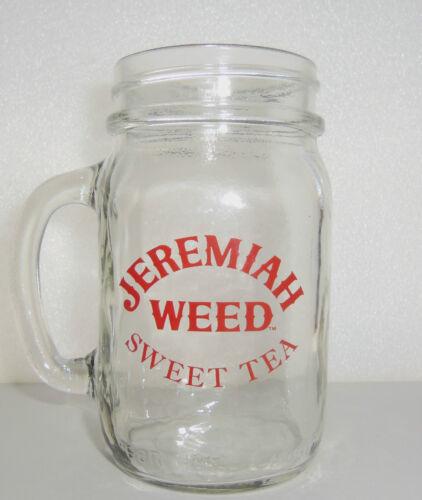 NEW Jeremiah Weed Sweet Tea Mason Jar Glass Mug W// handle Red Logo Bar