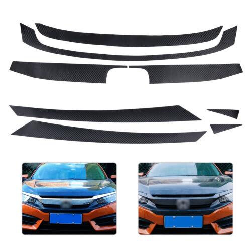 Carbon Fiber Texture Bumper Grill Decal Sticker Trim Fit for Honda Civic 2016