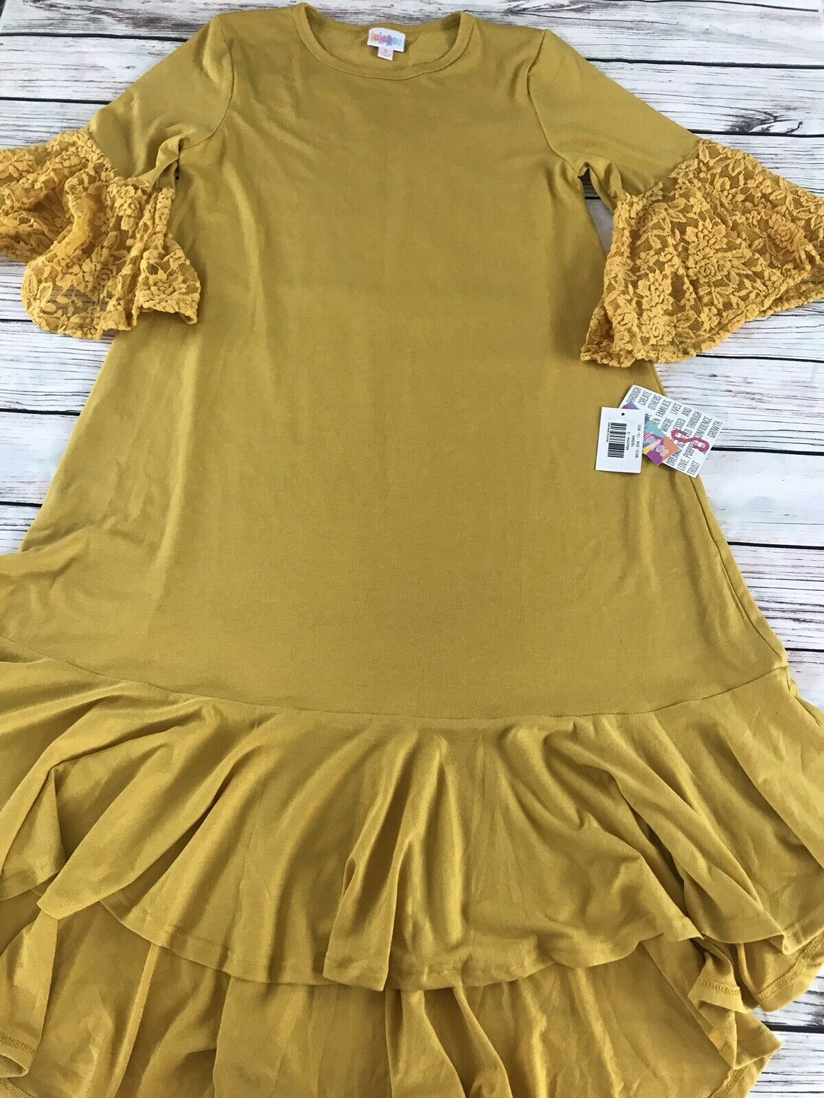 Lularoe NWT Maurine Dress Mustard Yellow Lace Sleeves Small - Rare Beauty