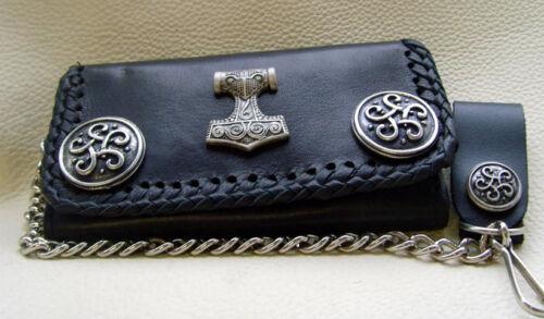 Biker Borsa Wallet con catena morbida pelle bovina molti scomparti 16 x 10 cm no 1 NUOVO