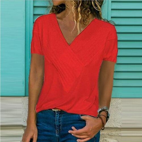 Damen V-Ausschnitt Volltonfarbe Sommer Oberteile Casual Tank Tops T-Shirt Bluse