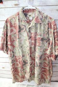 Joe-Marlin-Mosaic-XL-Cotton-Rayon-Terra-Cotta-Green-Men-039-s-Shirt