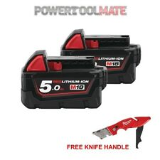 Genuine Milwaukee M18B5 18V 5.0Ah Battery (Twin Pack) with 48221902 Knife Handle