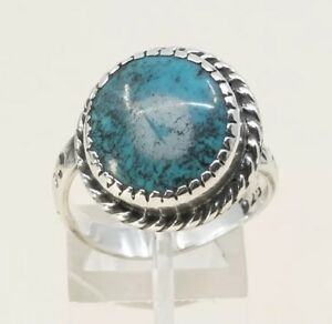 Sz-9-Vintage-Zuni-Sterling-Silver-W-Turquoise-N-Cable-Around-Navajo-925