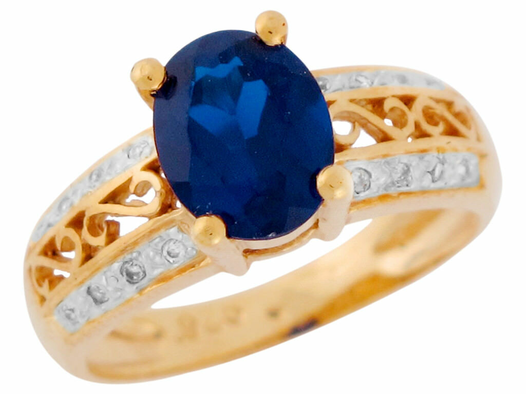 10k or 14k Two Tone gold Simulated Sapphire White CZ Fancy Ladies Filigree Ring