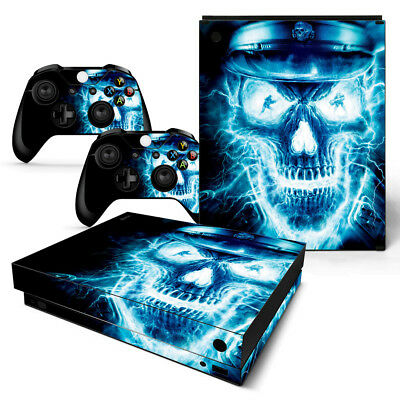 Video Game Accessories Xbox One X Skin Design Foils Sticker Screen Protector Set Blue Skull 2 Motif