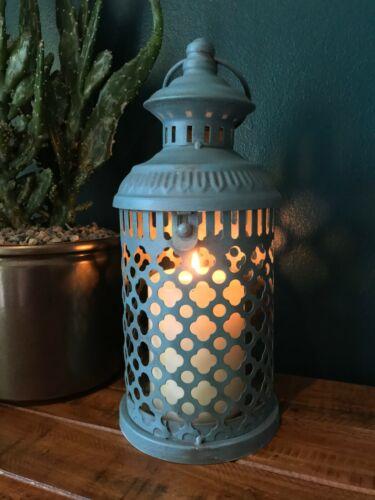 VINTAGE Francese Stile Marocchino Lanterna portacandele Tea light in metallo blu 26 cm