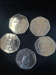 Jemima Puddleduck, Squirrel Nutkin, Peter Rabbit, Mrs Tiggywinkle, Beatrix 50p