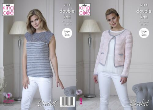KINGCOLE 5114 Ladies DK Crochet Top PATTERN 32-50IN not the finished garments