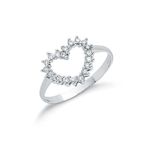 9ct White gold Open Heart Diamond Ring - 0.25ct