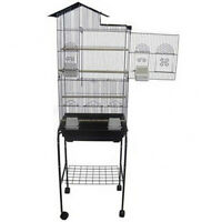 Tall Cockatiels Parakeets Finchs Or Canaries Bird Cage Black With Stand- 247