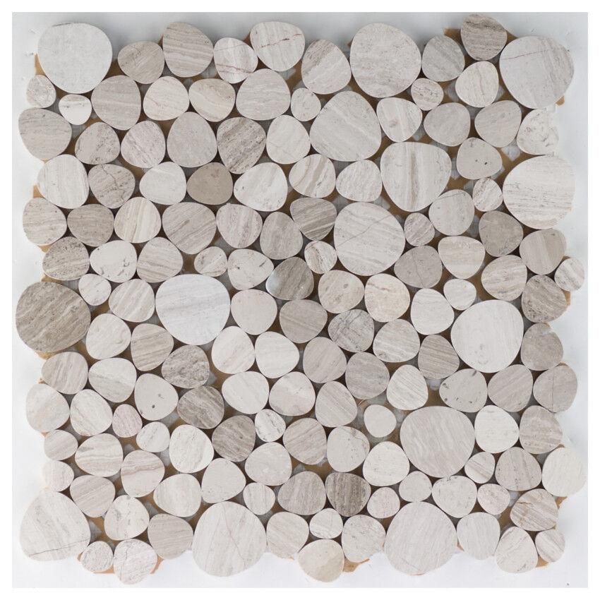 Flusskiesel Steinkiesel Marmor grau gestreift  Boden Wand   10Matten ES-65622_f