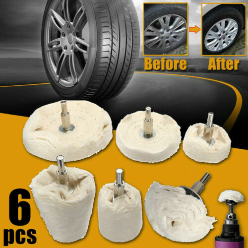 6PCS Buffing Pad Polishing Mop Car Wheel Buffer Polisher Kit Drill Attachment