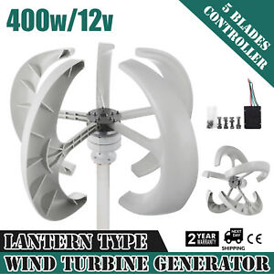 Details about 400W 12V White Lanterns Wind Turbine Generator Home power  Vertical Axis 5 Blads