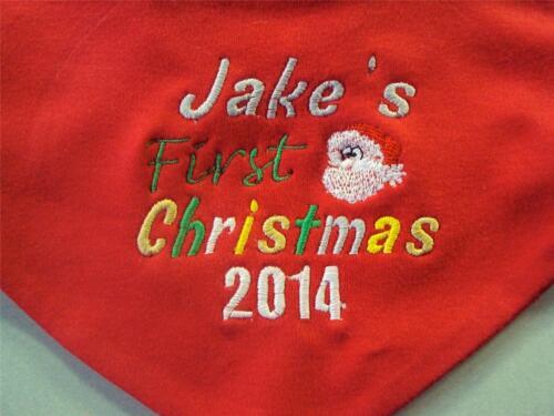 PERSONALISED FIRST 1ST CHRISTMAS BANDANA BIB NEWBORN BABY GIFT STOCKING FILLER