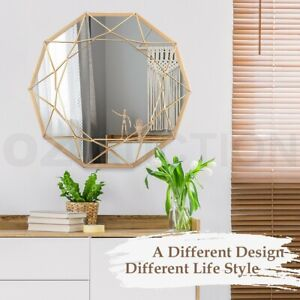 Geometric Shaped 10-Sided Wall Mirror Decorative Vanity Makeup Mirror Gold Frame