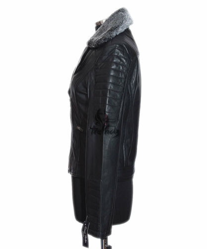 Collar Jacket Soft Black Lambskin Fur Ladies Real Biker Zoey New Leather Style 8B4UxPqtw