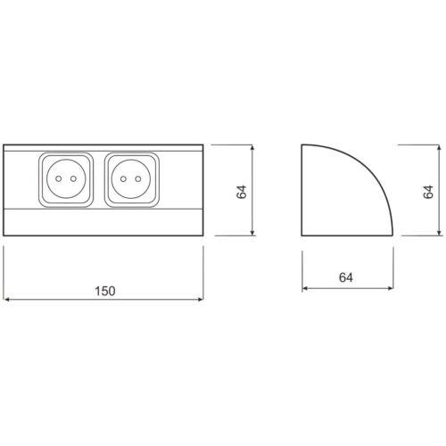 Aluminium Montage Prise de courant 2 fois coin montage prise murale cuisine double prise de courant