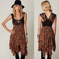 FREE PEOPLE ONE Fall Carnival Floral Dress Lace Straps XS As Seen On Celebrity