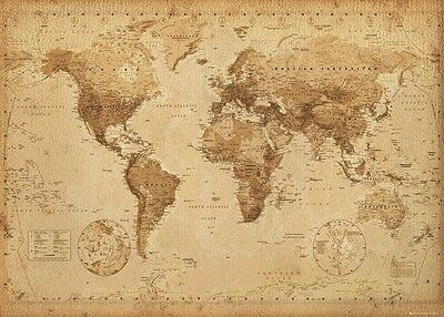 New MAP of the WORLD Laminated OLD ANTIQUE VINTAGE style POSTER 61x91cm Print