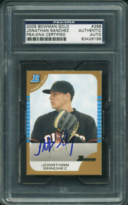 Jonathan-Sanchez-Authentic-Signed-Card-2005-Bowman-Gold-Rc-268-PSA-DNA-Slabbed