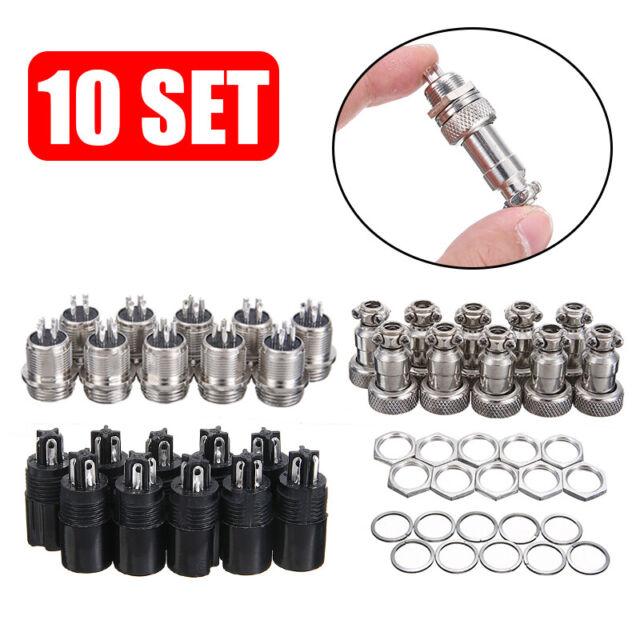 10 Set 4-Pin 12mm Stecker Buchse Steckverbinder Anschlusstecker Aviation Plug #A