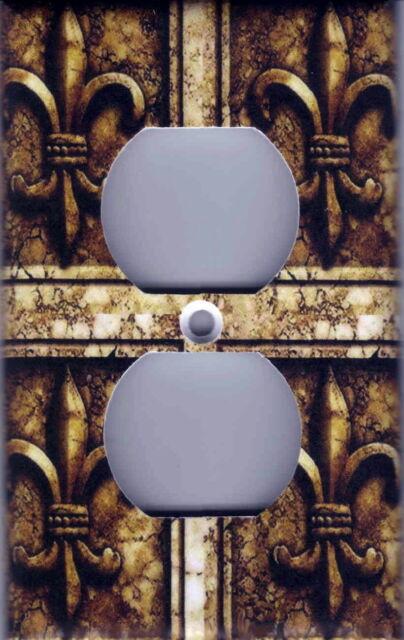 FLEUR DE LIS GREY STONE IMAGE HOME WALL DECOR SINGLE LIGHT SWITCH PLATE
