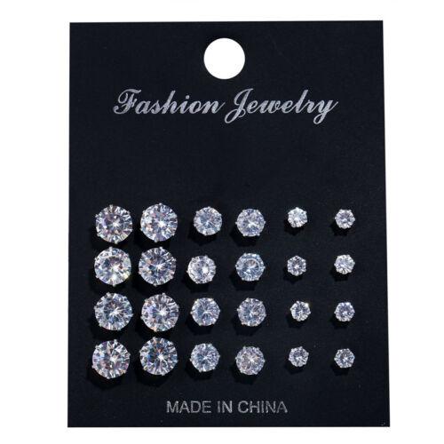 12Pairs Crystal Zircon Stainless Steel Earrings Sets Women Ear Stud Jewelry NEW