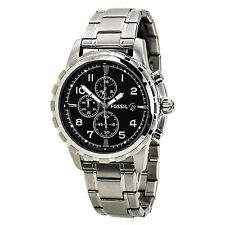 Fossil FS4542 Men's Dean Black Dial Steel Bracelet Chronograph Dual Time Watch