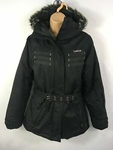 WOMENS-WED-039-ZE-BLACK-ZIP-UP-BELTED-DOWN-FEATHER-PADDED-SKI-JACKET-COAT-SIZE-US-XS