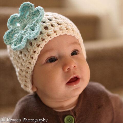 Vanilla Mint Crochet Beanie with Flower Baby Hat