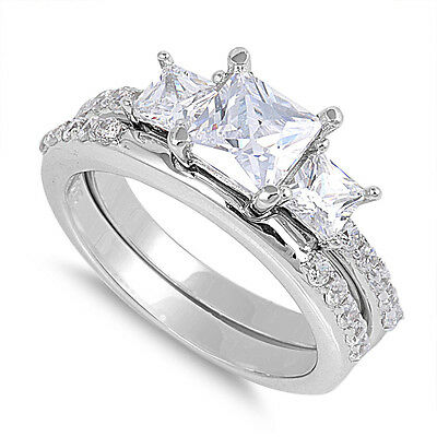 .925 Sterling Silver Princess Cut Clear CZ Wedding Promise Ring Set Size 6 to 10