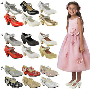 Bridesmaid-Sandals-Childrens-High-Mid-Heel-Diamante-Party-Shoes-Size
