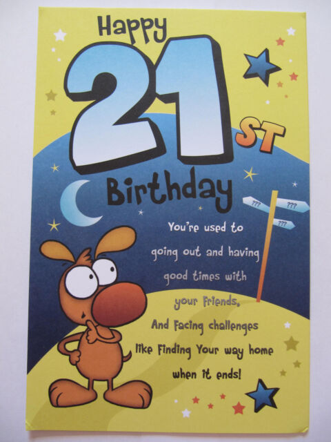 Fantastic 3 Fold Colourful Funny Poem Happy 21st Birthday Greeting Card