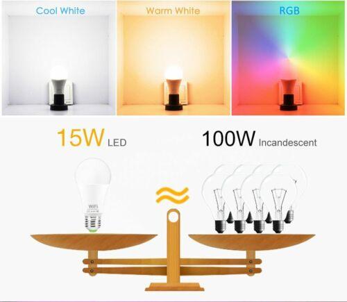 WiFi Smart LED RGB Light Bulb 15W Dimmable Alexa Google Home Control Smartphone