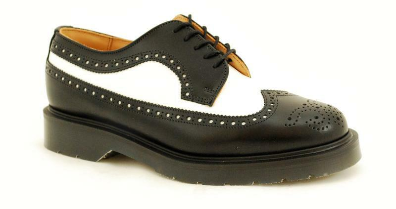 Solovair NPS Shoes Made in England  5 Eye Black/White American Brogue S052-L5812