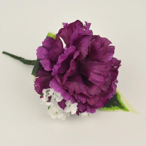 ARTIFICIAL SILK FLOWERS SINGLE CARNATION BUTTONHOLE MAGENTA