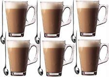 6 x 240ml Occhiali-Vetro Tazze Tazze per Caffè / Tè / Latte / Cappucino & spoon