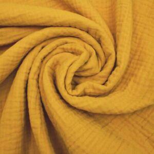 Triple Gaze Coton Mousseline - Moutarde - 100% Coton Fabrication de Robes Tissu