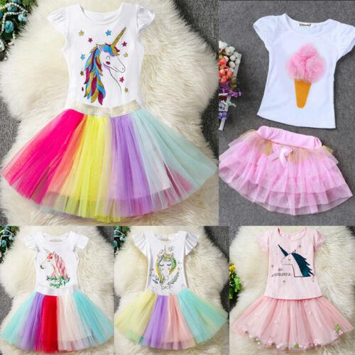 Girls Clothing Set Unicorn Dress Outfit T-shirt Top Tulle Tutu Skirt