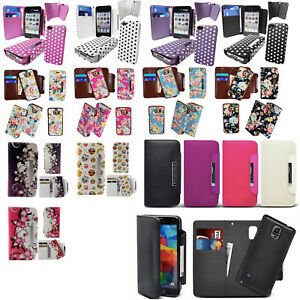Leather-Wallet-Flip-Cover-Magnetic-Detachable-Hard-Case-2-in-1-Printed-Polka-Dot