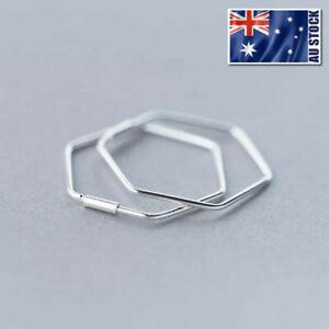 Genuine-925-Sterling-Silver-23mm-Plain-Hexagon-Geometric-Huggie-Hoop-Earrings