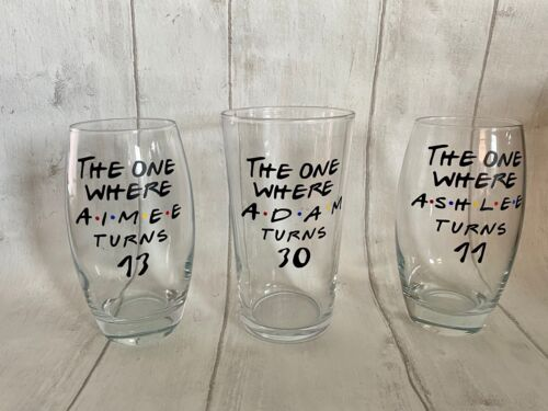 Personalised Friends TV show  Birthday Gifts Glass Gin Pint Tumbler Present!