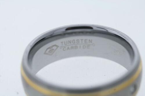 8mm Tungsten Carbide Double Gold-tone Stripe .15ctw 5 Diamond Band Ring