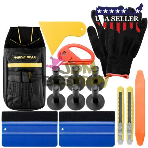 Standard Car Wrap Vinyl Tools Kit Squeegee Bag Razor Wrapping Gloves 6 Magnets